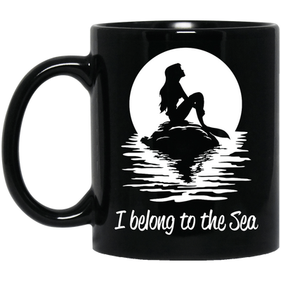 I Belong To The Sea Black Mug - scubadivingaddicts
