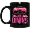 This Girl Loves Diving Black Mug