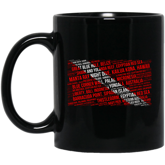 100 Best Dive Sites Black Mug - scubadivingaddicts