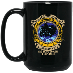 1% IS BRAVE ENOUGH TO EXPLORE IT BLACK MUG - scubadivingaddicts