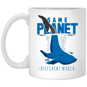 Same Planet Different World White Mug