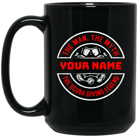 Personalized The Man, The Myth, The Scuba Diving Legend Mugs