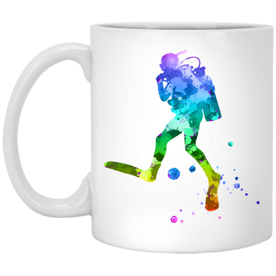 Colouful Scuba Diver - White Mugs