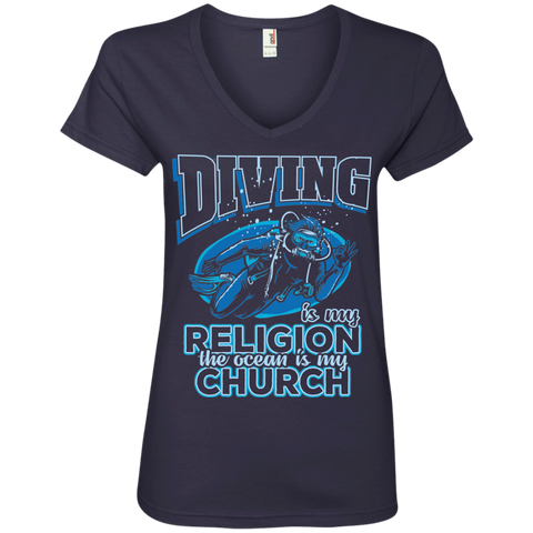 Image of Diving Is My Religion The Ocean Is My Church V-Neck