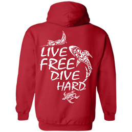 Live Free Dive Hard Hoodies