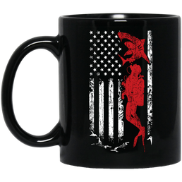 USA Scuba Flag Black Mug - scubadivingaddicts