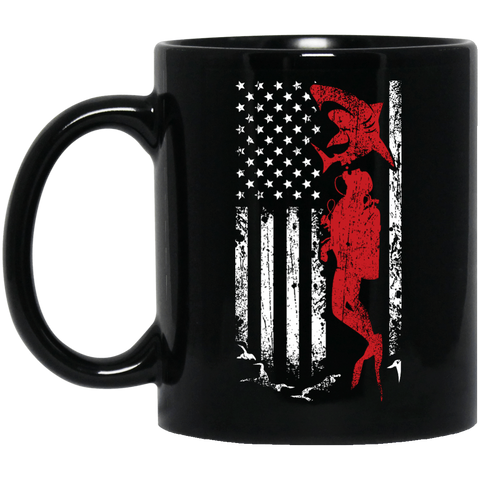 Image of USA Scuba Flag Black Mug - scubadivingaddicts