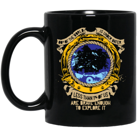 Image of 1% IS BRAVE ENOUGH TO EXPLORE IT BLACK MUG - scubadivingaddicts