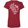 Live Free and Dive Hard Ladies V-Neck