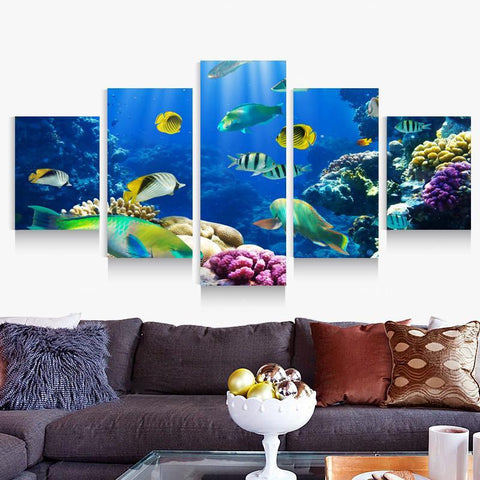 Image of Underwater World Ocean Canvas Wall Print - scubadivingaddicts