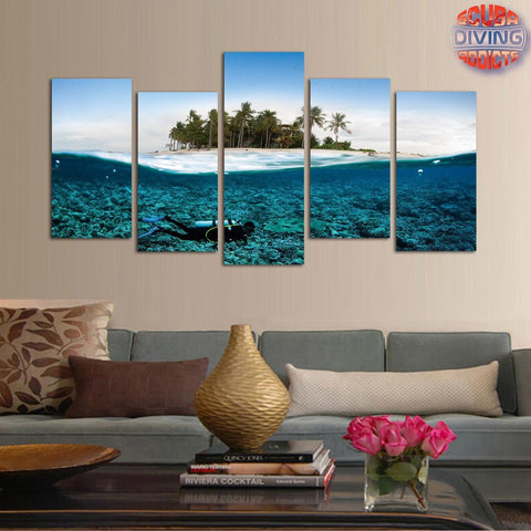 Image of Different Worlds 5 Piece Canvas - scubadivingaddicts