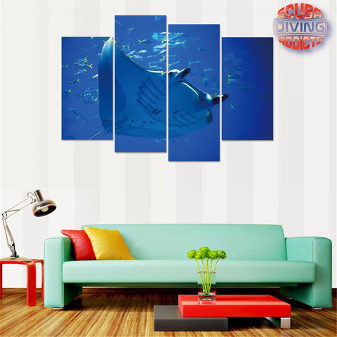 Image of Beautiful Manta Ray 4 Piece Canvas