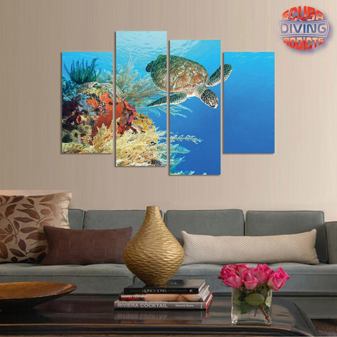 Image of Turtle Paradise 4 Piece Canvas