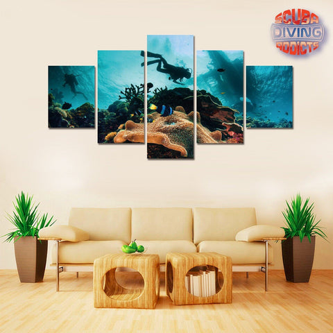 Image of Underwater Escape 5 Piece Canvas - scubadivingaddicts