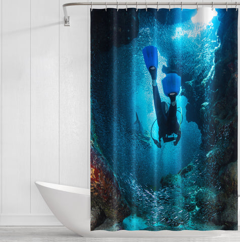Image of Scuba World Shower Curtain
