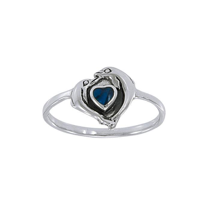 Dolphin Love Sterling Silver Ring