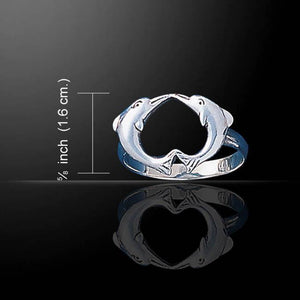 Love Dolphins Sterling Silver Ring