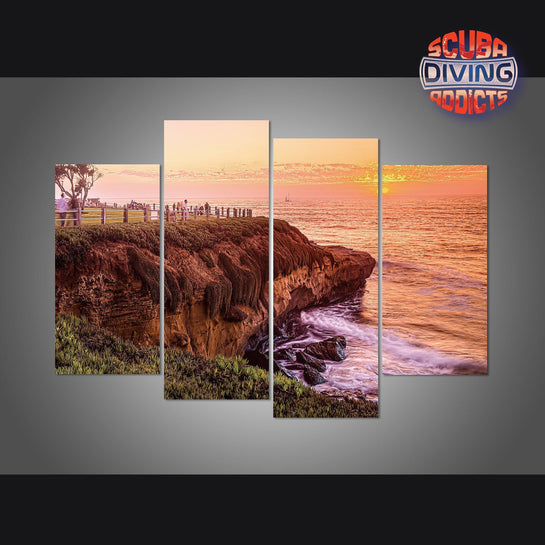 La Jolla Cove Sunset, San Diego California 4 Piece Canvas