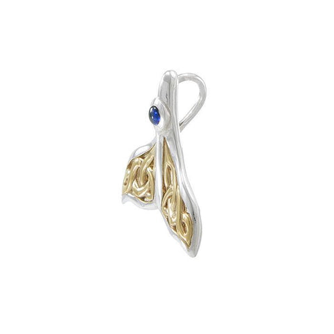 Celtic Manta Ray Gold Accent Sterling Silver Necklace - scubadivingaddicts