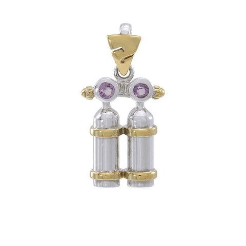 Dive Tanks Sterling Silver with Gold Plated Accents Necklace