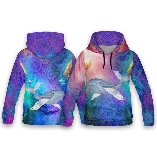 Whale Dreaming All Over Print Hoodies