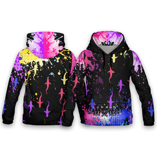 Colourful Sharks All Over Print Hoodies