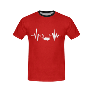 Scuba Diving Addicts Heartbeat All Over Print T-Shirt