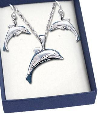 Dolphin Sterling Silver Necklace and Earrings