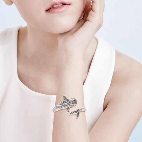 Image of Whale Shark Sterling Silver Cuff Bracelet
