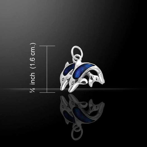 Image of Twin Dolphins Sterling Silver Paua Shell Charm