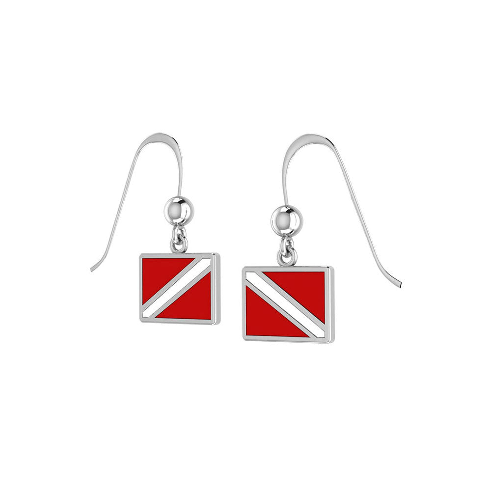 Dive Flag Sterling Silver Hook Earrings