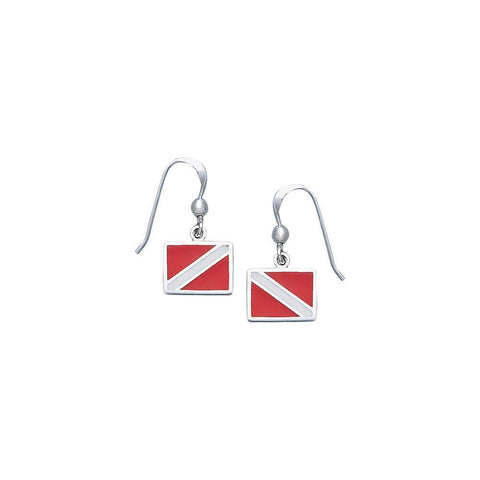 Dive Flag Sterling Silver Hook Earrings - scubadivingaddicts