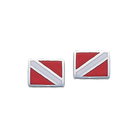 Dive Flag Sterling Silver Post Earrings - scubadivingaddicts