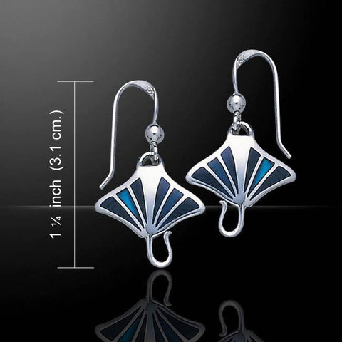 Image of Manta Ray Sterling Silver Hook Earrings