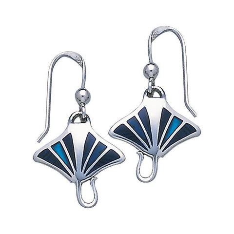 Manta Ray Sterling Silver Hook Earrings