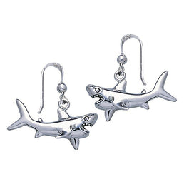 Great White Shark Sterling Silver Hook Earring