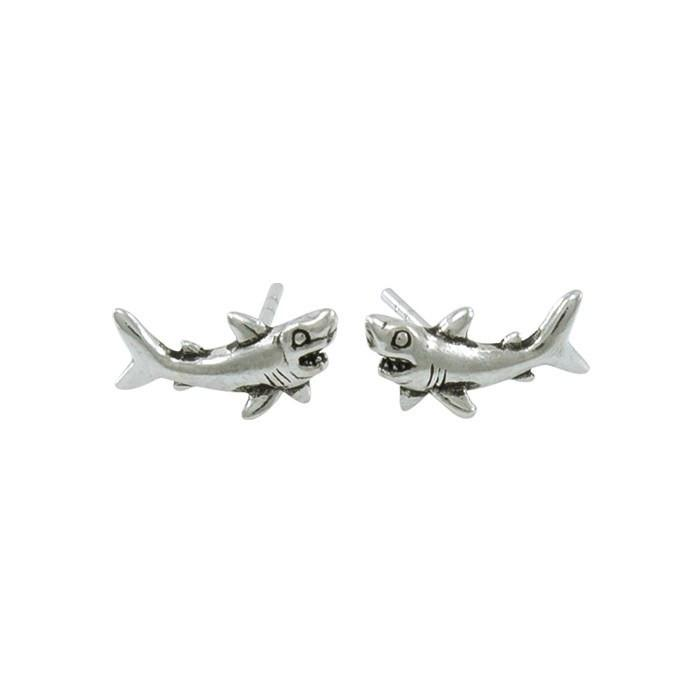 Great White Shark Sterling Silver Post Earring