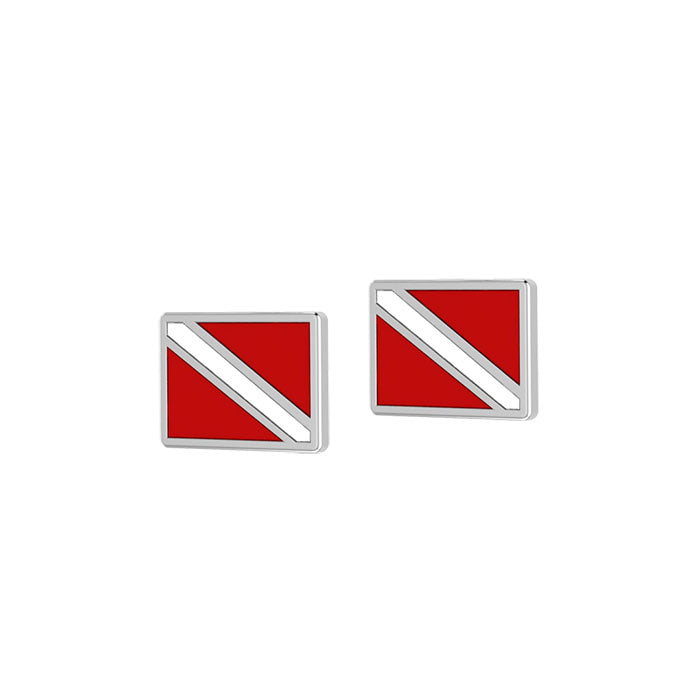 Dive Flag Sterling Silver Post Earrings