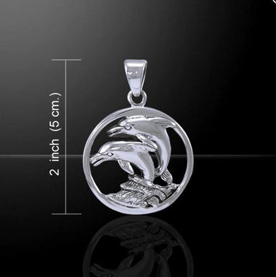 Dolphin In Circle Sterling Silver Necklace