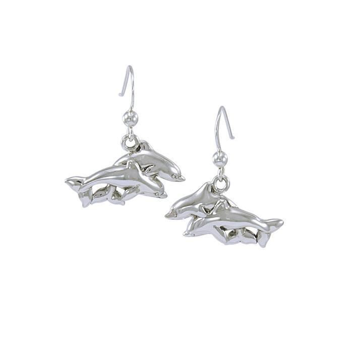 Mother And Baby Dolphin Sterling Silver Earrings