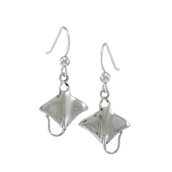 Silver Stingrays Hook Earrings