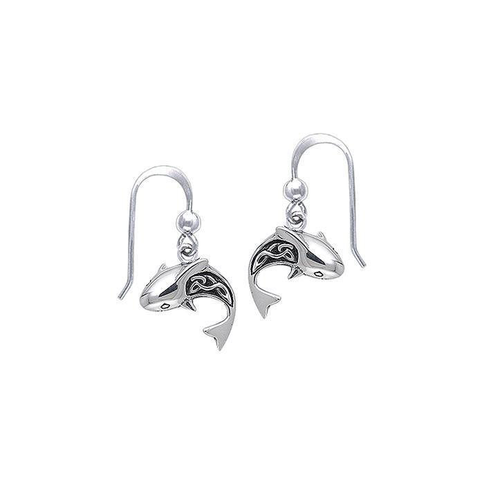 Celtic Shark Sterling Silver Hook Earring - scubadivingaddicts