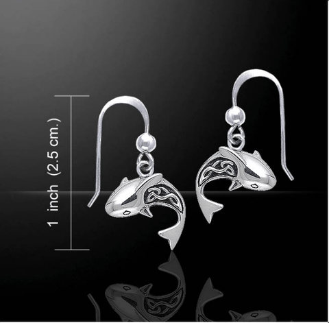 Image of Celtic Shark Sterling Silver Hook Earring - scubadivingaddicts