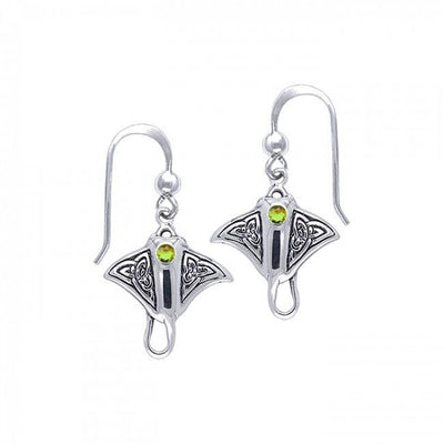 Celtic Manta Ray Sterling Silver Hook Earring - scubadivingaddicts