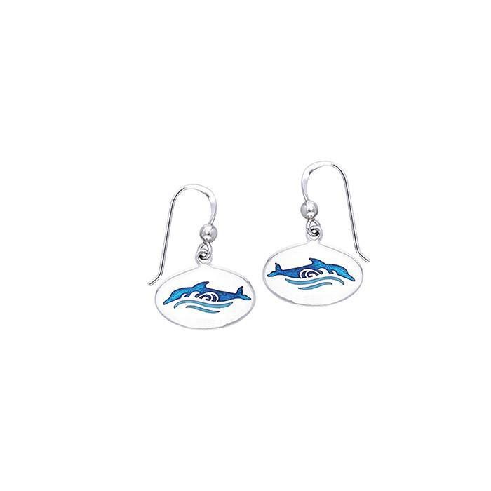 Dolphin And Waves Sterling Silver Earrings