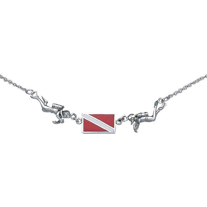 Diver Down Flag Sterling Silver Necklace