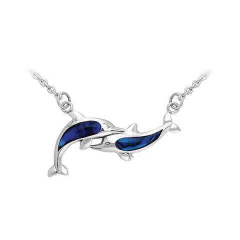 Playing Twin Dolphins Sterling Silver Necklace