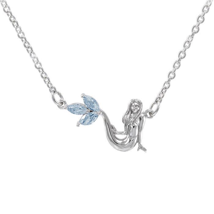 Laying Mermaid Sterling Silver Necklace