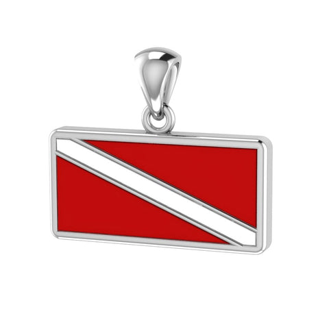 Dive Flag Sterling Silver Necklace