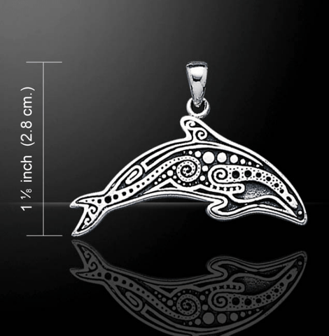 Aboriginal Dolphin Sterling Silver Necklace - scubadivingaddicts
